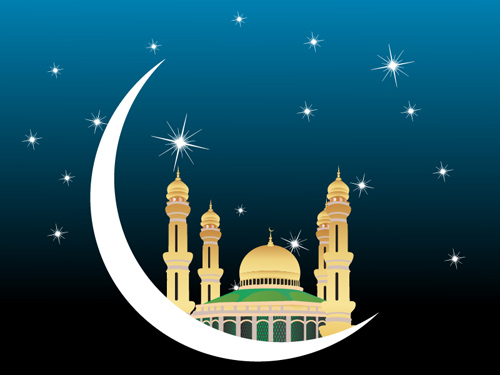 Banner Of Mosques In Over Bright Night Sky Ramadan And Eid Series